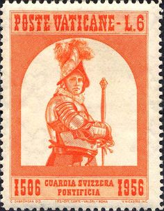 Sello: Corporal of the Guard (Ciudad del Vaticano) Anniversary of Swiss Guard) Mi:VA 204 Sitting On His Lap, Swiss Guard, Old Coins, Vatican City, Stamp Collecting, My Stamp, Postage Stamps, Lettering, Military Uniforms
