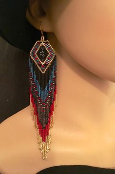 Luxury Glass Seed Bead Earrings Native American Beaded Shoulder Dusters Christmas Ethnic Gift For Her Zircon Gunmetal Cranberry Red Gold Earrings, Stocking Stuffer showcasing a stunning geometric motif in lush blue Zircon, Cranberry and Gold hues accentuated by Black Matte and
