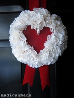 My {free} heart-shaped doily wreath ~ Madigan Made { simple DIY ideas }
