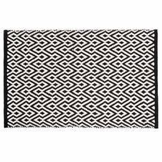 MAISON DU M/Tapis à poils courts et motifs en coton noir et blanc 60 x 90 cm ETHNICO 12E