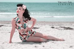 Little Queenie @ Vintage Girl Studios on the beach in an adorable vintage suit