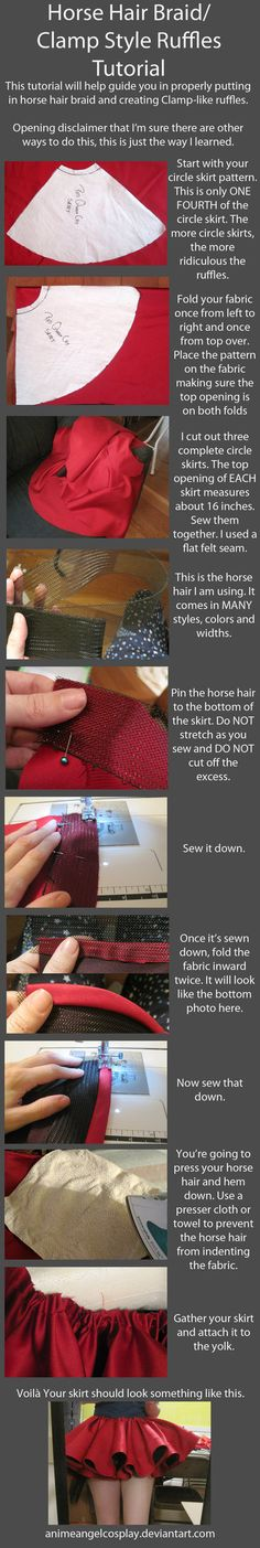 Tutorial-Putting in Horse Hair Braid/CLAMP lolita cosplay Ruffles by ~AnimeAngelCosplay on deviantART Sewing Hacks, Sewing Tutorials, Sewing Crafts, Sewing Patterns, Sewing Tips, Diy Clothing, Sewing Clothes, Ruffles, Ruffle Skirt