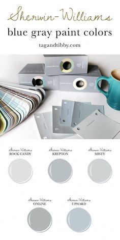 The Best 5 Blue Gray Paint Colors — Tag & Tibby Design Favorite blue gray color choices by Sherwin-Williams Bluish Gray Paint, Blue Gray Paint Colors, Color Blue, Wall Colors, Interior Paint Colors, Paint Colors For Home, Sherwin Williams Grau, Living Room Small, Room Decor For Teen Girls
