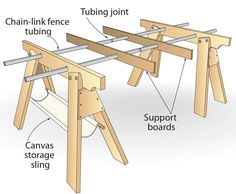 A collapsible work support made entirely of scrap