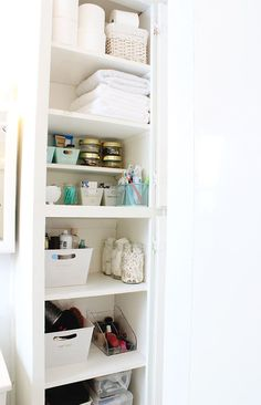 How to organize your bathroom - Tried and true tips for how our family of 6 shares one small bathroom in our home. Click for tips and tricks! - www.classyclutter.net