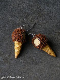Boucle d'oreille glace croquée en fimo Argent 925 : Boucles d'oreille par jl-bijoux-creation