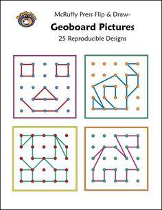 Geoboard Pictures Flip & Draw Book Images - Rainbow Resource Center, Inc. Preschool Math, Math Classroom, Kindergarten Math, Teaching Math, Math Stations, Math Centers, Math Games, Preschool Activities, Geo Board