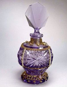 Purple Perfume Bottles | Purple vintage perfume bottle with Art Deco fan design