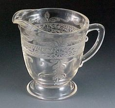 S Pattern Stippled Rose Clear Depression Glass Tall Creamer