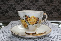 Vintage 1950s Windsor England Tea Cup Saucer Bone China Set Gold Trim Collectible Yellow Roses Floral Mid Century Serving Dining by TresorsEnchantes on Etsy