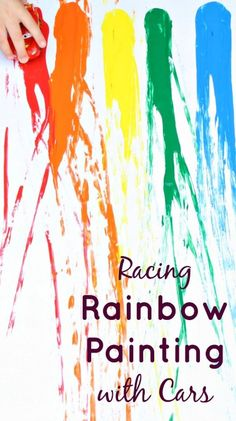 Racing Rainbow Painting with Cars-Explore ramps, gravity, color matching, counting and more in this fun process art activity for kids. Looks like some fun messy play time! Painting Activities, Art Activities For Kids, Creative Activities, Preschool Activities, Art For Kids, Preschool Kindergarten, Kids Crafts, Teach Preschool, Preschool Projects