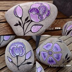 Photo from henrys_sten Pebble Painting, Dot Painting, Pebble Art, Stone Painting, Stone Crafts, Rock Crafts, Arts And Crafts, Rock Flowers, Hand Painted Rocks