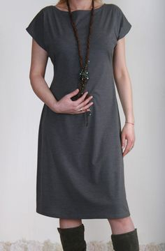TINA Simple knee length dress with very short sleeves. $32.00, via Etsy.