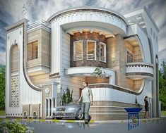 Amazing House Design Ideas For 2020 to see more visit Classic House Exterior, Classic House Design, Modern Exterior House Designs, Unique House Design, Cool House Designs, Exterior Design, Modern House Facades, Modern Architecture House, Modern House Plans