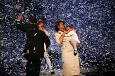 CHICAGO - NOVEMBER 2: Candidate for the U.S. Senate Barack Obama (D-IL) (L) holding his daughter Malia with wife Michelle and youngest daughter Sasha (R) celebrate his victory with supporters over Repulican rival Alan Keyes November 2, 2004 in Chicago, Illinois. Obama was expected to easily defeat Keyes in this first ever senate race featuring two major-party African-American candidates. (Photo by Scott Olson/Getty Images) via @AOL_Lifestyle Read more…