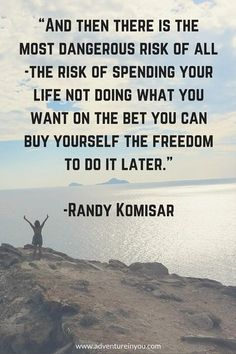 'and then there is the most dangerous risk of all -the risk of spending your life not doing what you want on the bet you can buy yourself the freedom to do it later.' -randy komisar