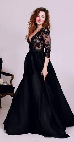 A-line/Princess Evening Dresses, Black Prom Dresses, Long Evening Dresses, Long Black Evening Dresses With Lace Floor-length Deep V-Neck Sale Online #eveningdresses