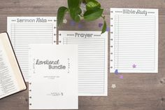 Happy Planner Devotional Bundle from Natalie Rebecca Design. Prayer list, Sermon Notes, Bible Study page