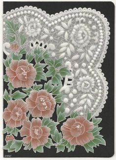 By Carolyn C.  Parchment card coloured with polychromo pencils. Free pattern from Julie Roces.