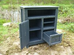 Black Painted Distressed Rustic Pallet Cabinet , Jelly Cabinet, Reclaimed  Wood, Shabby Chic, Bathroom Cabinet, Media Stand