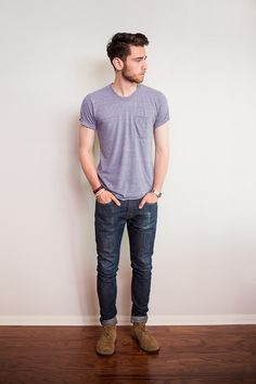plain, simple.  pocket tee, jeans and boots.  love this look. Casio watch desert boots fashion men tumblr Style steetstyle simple beard