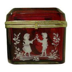 "Antique Bohemian  Cranberry Hinged Box. ""Mary Gregory "", Shop Rubylane.com"