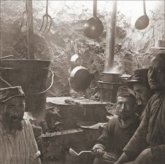 French Trench Kitchen on Salonika Front..WW1