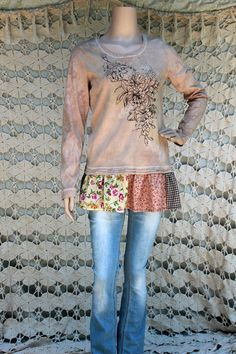 REVIVAL Women's Upcycled Floral Knit Shirt Shabby Chic
