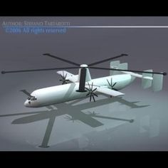 Gyrolifter VTOL trasport plane 3D Model-   Experimental blade propelled Vtol transport plane for vertical landing and takeoff. The model has no gears.The last picture is an artistic image of the military navy version of gyrolifter.Girylifter experimental planes are founded on a new tecnology with potential military and civilian applications. The small tip jets, located at the end of the rotor blades allow the GyroLifter to alternate from gyrodyne (powered rotor system) to gyroplane…