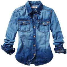 Denim Shirt (305 BRL) ❤ liked on Polyvore featuring tops, shirts, blusas, camisas, round top, anchor shirts, collared shirt, blue top and anchor blue shirts