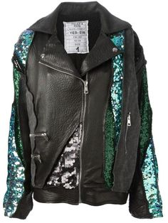 sequin leather jacket