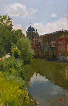 Marc Dalessio, la Dyle à Malines. 30 x 20 cm, huile sur panneau.