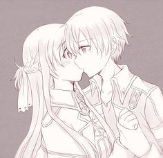 Anime Kiss, Anime Angel, Sword Art Online Season, Desenhos Love, Sword Art Online Wallpaper, Kirito Asuna, Sword Art Online Kirito, Online Coloring Pages, Anime Love Couple