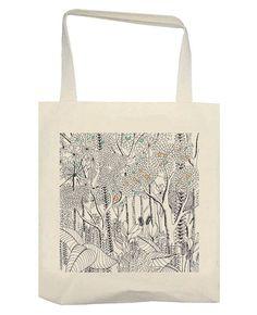 Tote bag dessin jungle version petite touche de couleur  #ToteBag #Jungle #rotring #drawing