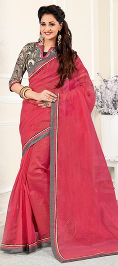 Buy Now : Rs. 2,350 /- http://www.indianweddingsaree.com/product/181588.html Pink and Majenta color family Embroidered Sarees, Party Wear Sarees with matching unstitched blouse.