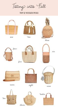 Last week we shared our blush transitional pieces and today we are featuring a few wicker bags we will be toting into fall! How cute is the pineapple bag Hint Straw Handbags, Purses And Handbags, Novelty Bags, Art Bag, Handmade Purses, Basket Bag, Purse Styles, Summer Bags, Cute Bags
