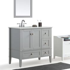 Wyndenhall Windham Grey 36-inch Offset Bath Vanity with White Quartz Marble Top (Left Offset), Size Single Vanities