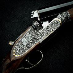 Westley Richards .470 Sidelock double rifle engraving