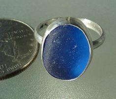 HL Sea Glass & Beach Glass Jewelry, stunning cobalt blue sea glass sterling silver ring