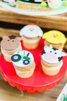 Don't miss this fun farm-themed birthday party! The cupcakes are so cute!! See more party ideas and share yours at CatchMyParty.com #catchmyparty #partyideas #farm #farmparty #farmanimals #farmcupcakes