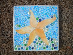 Mosaic Stepping Stones | Starfish Mosaic Stepping Stone by MTGlass on Etsy