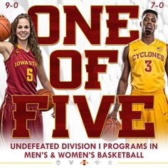 How about this, #CyclONEnation? Iowa State is one of five DI programs with undefeated men's AND women's basketball teams!