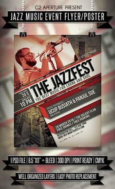 Jazz Music Event Flyer / Poster - Events Flyers DOWNLOAD : http://graphicriver.net/item/jazz-music-event-flyer-poster/15204542?ref=sinzo
