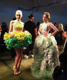 Designers create runway collections crafted from Subway sandwich trash. The pieces are made entirely out of anything found at the restaurant, like napkins and sandwich wrappers.