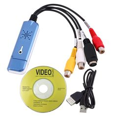 New Portable USB 2.0 Video Audio Capture Card Adapter VHS DC60 DVD Converter Composite RCA Blue Wholesale
