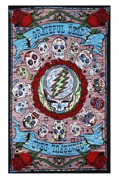 Sunshine Joy Grateful Dead 3D Mexicali Sugar Skulls Tapestry Tablecloth Wall Art Beach Sheet Huge 60x90 Inches - Amazing 3D Effects Sunshine Joy http://www.amazon.com/dp/B00556RY7G/ref=cm_sw_r_pi_dp_qYq1vb01A0ZR3