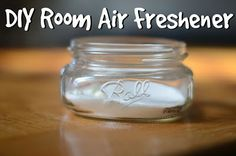 A container (small glass jar or recycled candle jar)     Baking soda,     Essential oil,    Foil (or a lid you want to ruin and poke holes in)   Pour baking soda into container, about 1/4 full. Pour in 8ish drops of essential oils. Cover with foil/lid with holes