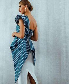 Women's New Single Shoulder Striped Ruffle Celebrity Runway Dress – icu-sexy Smart Casual Women Summer, One Shoulder Dress Long, Turquoise Shirt, Fashion Pants, Swag Fashion, Dope Fashion, Fashion Dresses, Party Wear Kurtis, Dress Hairstyles