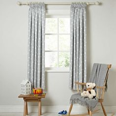 Buylittle home at John Lewis Star Pencil Pleat Blackout Lined Curtains, W165 x Drop 137cm Online at johnlewis.com
