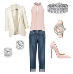 """""""Casual Friday"""" by merrilymerrilymerrily on Polyvore featuring 7 For All Mankind, Vera Mont, Christian Louboutin, Ted Baker, Palm Beach Jewelry, Bloomingdale's, women's clothing, women's fashion, women and female"""